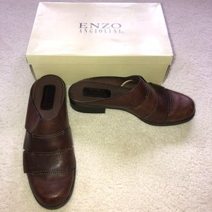 Enzo Angiolini brown leather mules